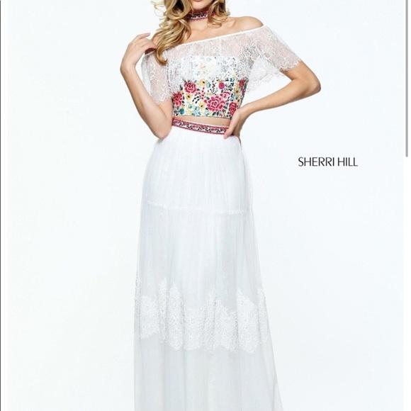 Sherri Hill Dresses White Floral Embroidered Boho Prom Dress